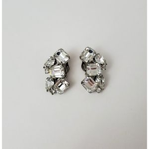 Weiss Clip On Rhinestone Earrings